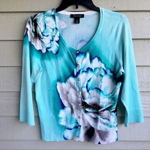 WHBM Teal Floral Sequin Cardigan Sweater